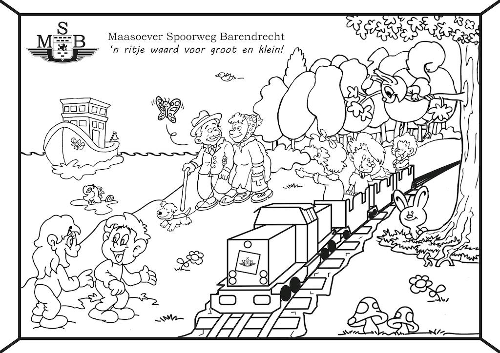 kleurplaat maasoever spoorweg